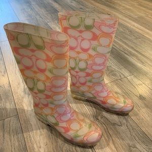Pastel jelly Coach rain boots size 7